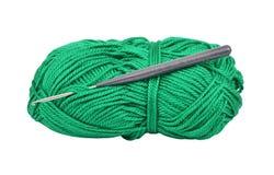 Écheveau de crochet de laines et de crochet Images stock