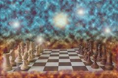 Échiquier et pièces d'échecs matériels en bois dans la faible luminosité avec la profondeur du champ illustration stock
