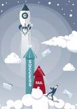 Échouer de prise d'homme d'affaires avec la corde tandis que flèche de succès grandissant avec le vaisseau spatial Rocket Flying  illustration libre de droits