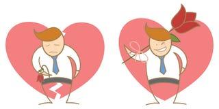 Échouer et réussite d'homme dans l'amour Photos libres de droits