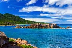 Échouez Anse grand à la La Digue, Seychelles d'île Photo stock