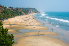 Échouez au Kerala - plage principale de Varkala Image libre de droits