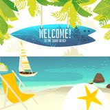 Échouez la bannière avec le signe de yacht, de chaise et de planche de surf Illustration de Vecteur