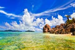 Échouez la source d'Argent chez les Seychelles Photo libre de droits