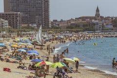 Échouez la vie dans une petite ville espagnole Palamos Espagne, Costa Brava, Photos libres de droits