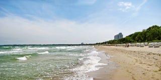 Échouez le panorama dans le brin de Timmendorfer, mer baltique, Allemagne Photo stock
