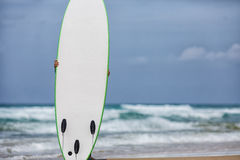 Échouez le paysage avec une planche de surf rouge sur le sable Photo stock