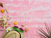 Échouez les accessoires comprenant la protection solaire, la plage de chapeau, la coquille et les Cocos photo stock
