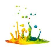 Éclaboussement coloré de peinture Photographie stock libre de droits
