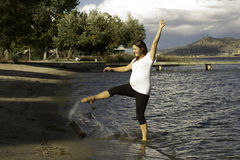 Éclaboussement dans le lac Photo libre de droits