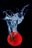 Éclaboussement de la tomate dans une eau Photographie stock libre de droits