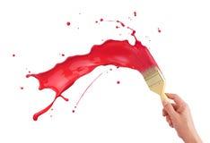 Éclaboussement rouge de peinture Photo libre de droits