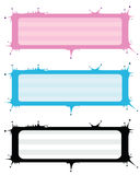 Éclabousser des bannières de vecteur dans trois couleurs Photo libre de droits
