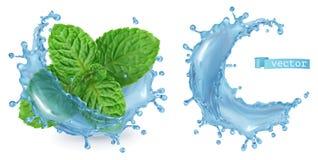Éclaboussez l'eau et la menthe vecteur 3d illustration libre de droits