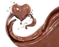 Éclaboussez le fond abstrait de chocolat, le coeur 3d de chocolat illustration libre de droits