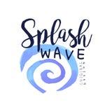Éclaboussez le logo de vague, élément de conception de l'eau, illustration de vecteur d'aquarelle d'insigne d'aqua Image stock