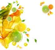 Éclaboussure colorée de jus d'orange et de limette Images libres de droits