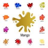 éclaboussure d'icône de jus de mangue Ensemble détaillé d'éclaboussure de couleur Conception graphique de la meilleure qualité Un illustration de vecteur