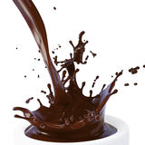 Éclaboussure d'isolement de chocolat chaud brun Photos stock