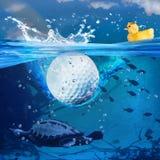 Éclaboussure de boule de golf Images libres de droits