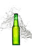 Éclaboussure de bouteille à bière Images libres de droits