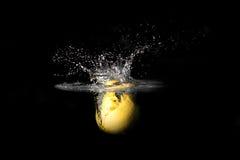 Éclaboussure de citron sur le noir Images libres de droits