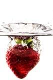 Éclaboussure de fraise dans le noir Images libres de droits