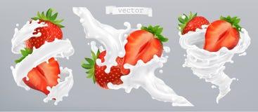 Éclaboussure de fraise et de lait, yaourt vecteur du graphisme 3d illustration stock
