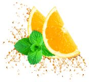 Éclaboussure de jus d'orange Photos libres de droits