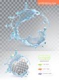 Éclaboussure de l'eau avec le transparent illustration de vecteur