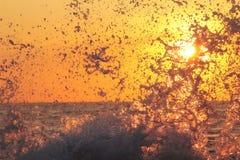 Éclaboussure de vague de mer au coucher du soleil Images libres de droits