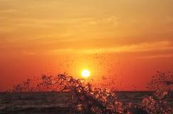 Éclaboussure de vague de mer au coucher du soleil Image libre de droits