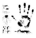 Éclaboussure et handprint à l'encre noire Photos libres de droits