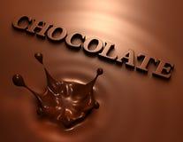 éclaboussure et inscription du chocolat 3D Image libre de droits