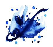 Éclaboussure magique d'aquarelle bleue Photos libres de droits