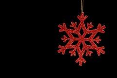 Éclaille rouge de neige sur un fond noir image libre de droits