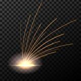 Éclair créatif d'illustration de vecteur du feu en métal de soudage électrique avec des étincelles d'isolement sur le fond transp illustration stock