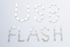 Éclair d'USB écrit par des bâtons de mémoire Photo stock