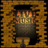 Éclair de mur de briques de musique en direct Photographie stock libre de droits