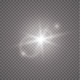 Éclair de Sun avec les rayons et le projecteur Effet de la lumière de lumière du soleil de vecteur de fusée spéciale transparente illustration de vecteur