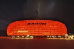 Éclairage au-dessus de l'arène d'Allianz Image libre de droits
