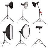Éclairage de studio d'isolement sur le blanc Photographie stock