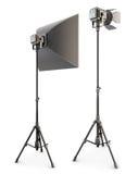 Éclairage de studio d'isolement sur le fond blanc 3d Image stock