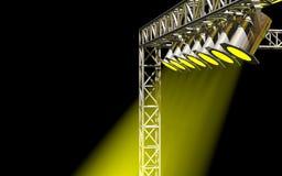 Éclairage jaune lumineux de concert Images libres de droits