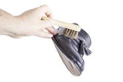 Éclat de brosse de chaussure Images libres de droits