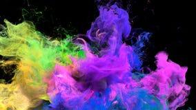 Éclat de couleur - alpha matte de fumée de particules liquides jaunes roses colorées d'explosion illustration libre de droits