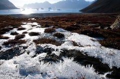 Éclat de Sun au-dessus de gel arctique de glace Image stock
