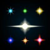 Éclat léger, ensemble de point culminant Collection couleurs de fusées de lentille de différentes Photographie stock libre de droits