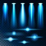 Éclat lumineux d'éclat léger réaliste réglé des lampes, diverses formes et projections sur le fond foncé Vecteur abstrait illustration de vecteur