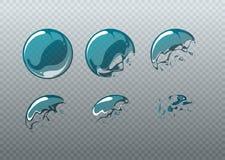 Éclatement de bulle de savon Cadres d'animation réglés dans le style de bande dessinée illustration libre de droits